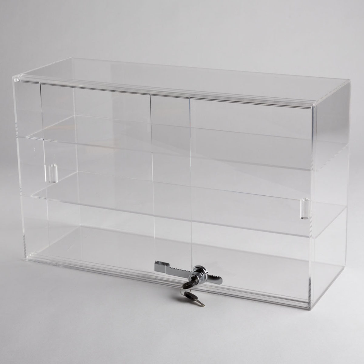 Acrylic 2 shelf counter top display case a b store fixtures for Acrylic bar top