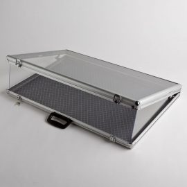 Large Aluminum Display Case with Glass Cover
