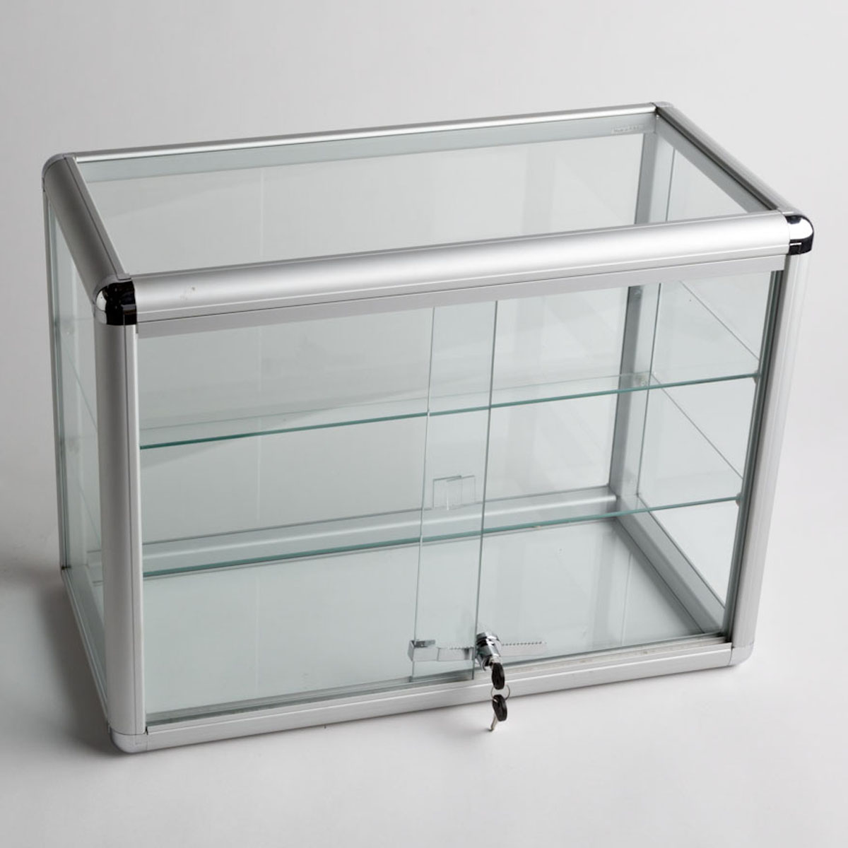 Glass Counter Top Aluminum Frame Display Case