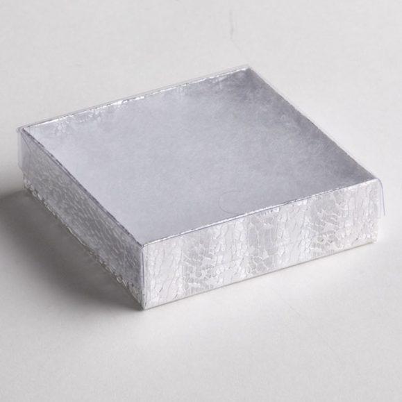 Clear Top Silver Texture Bracelet Boxes