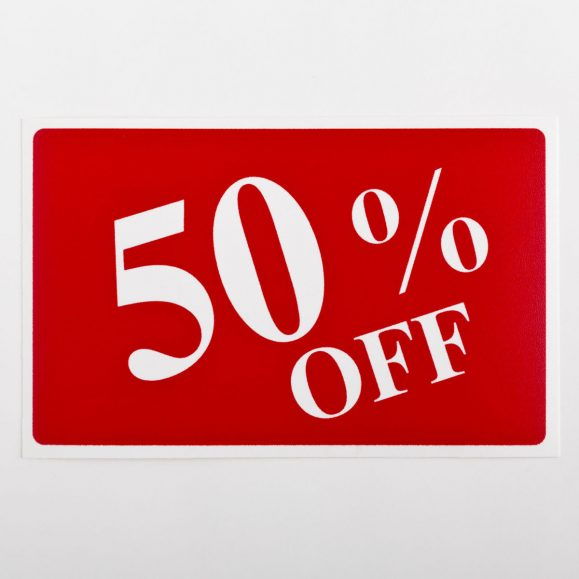 50% Off Sign
