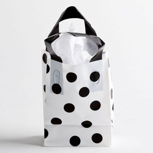 BLACK-WHITE DOT PLASTIC SHOPPING BAGS