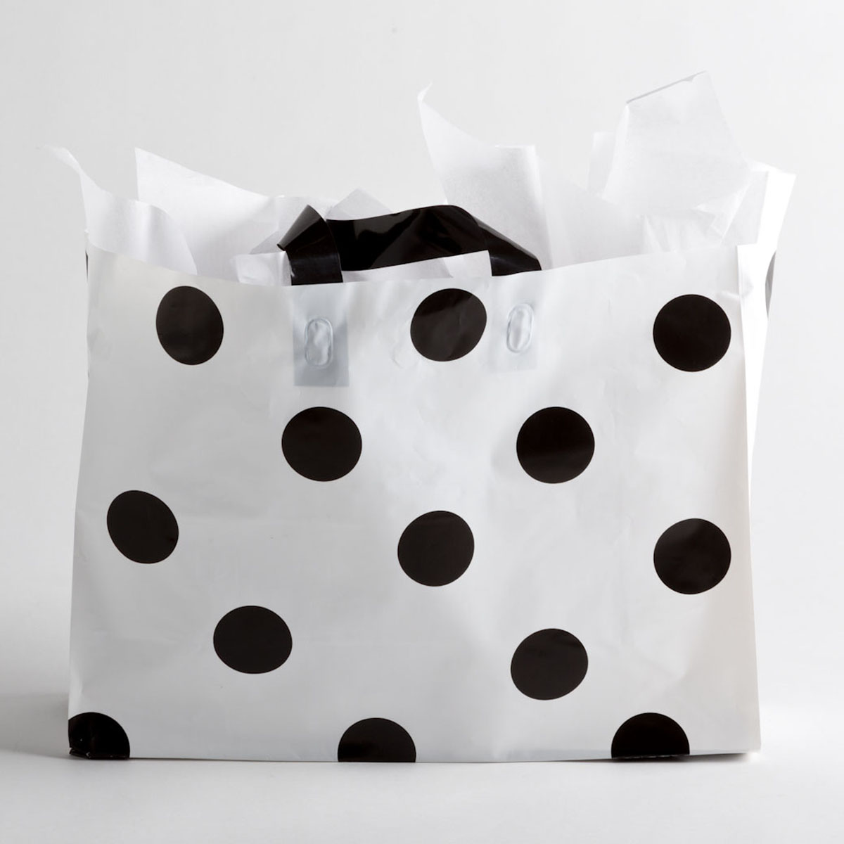 Black Polka Dot Plastic Shopping Bags - Large | A&B Store Fixtures