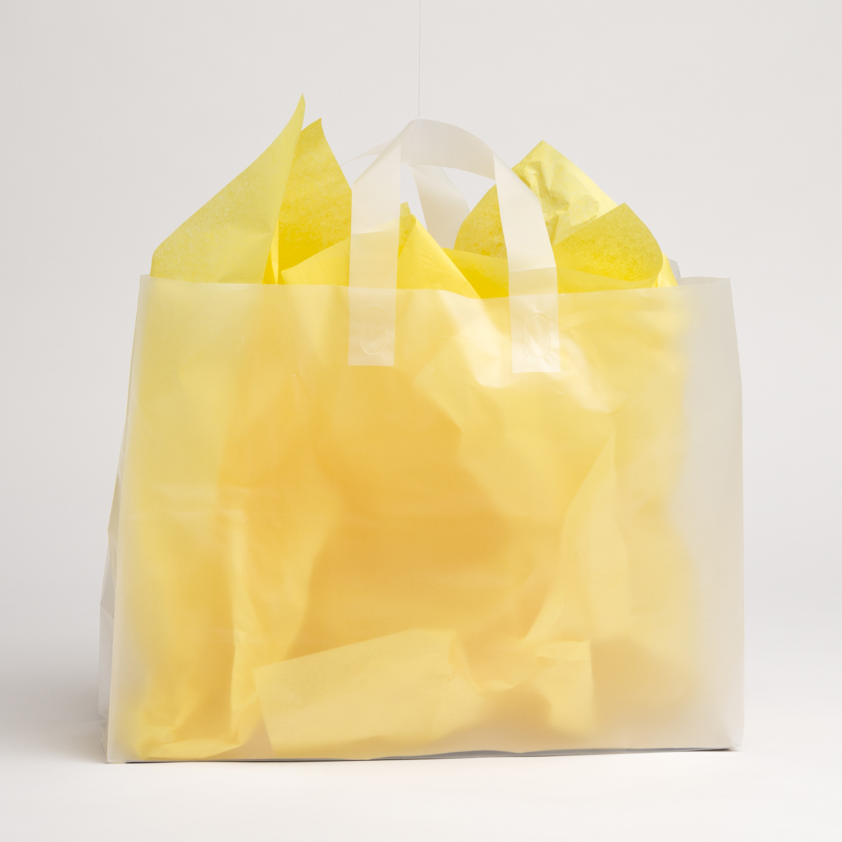 Clear Frost Plastic Shopping Bags - Large | A&B Store Fixtures