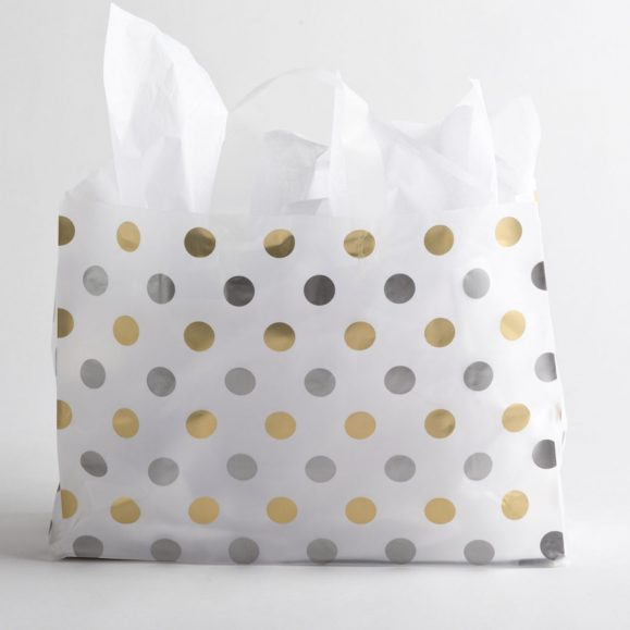 GOLD-SILVER DOT PLASTIC SHOPPING BAGS