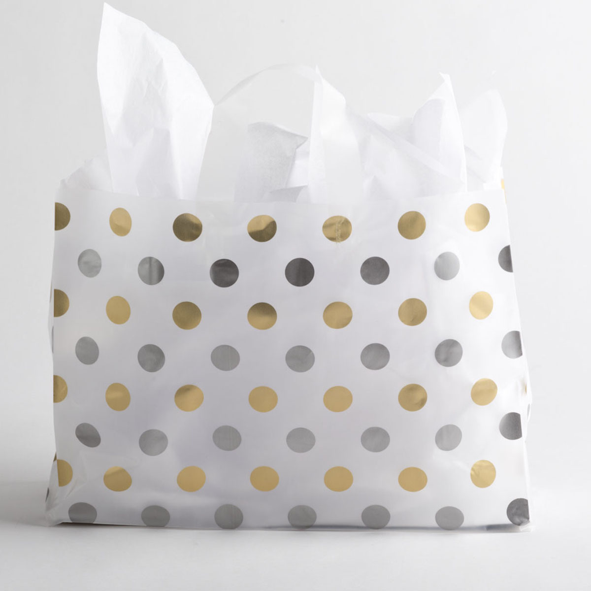 Polka Dot Plastic Shopping Bags - Large, Gold/Silver | A&B Store ...
