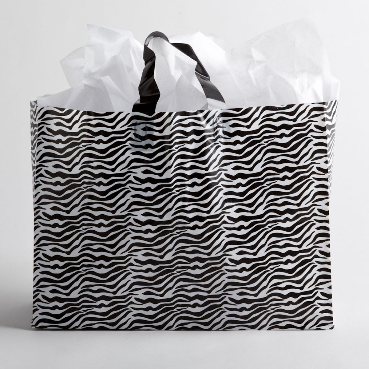 Zebra Print Plastic Shopping Bags Large A Amp B Store Fixtures