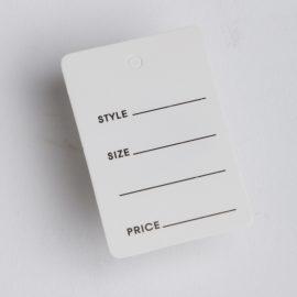 WHITE PRICE TAG-STYLE SIZE PRICE